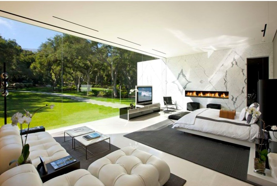 Glass pavilion living room Glass Façade