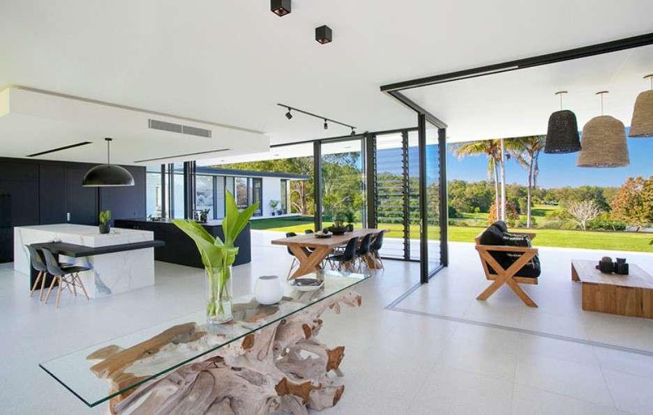 sarah waller residence interior livng area Glass Façade